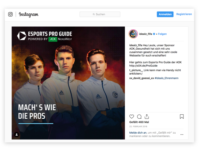 Instagram Beitrag E-Sports
